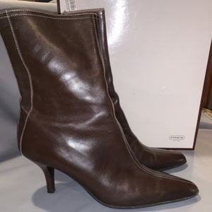 Coach Mahogany Brown Jeanne Calf High Booties